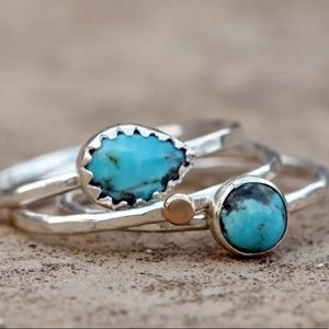 New 3 set silver Small Blue turquoise Stone Ring